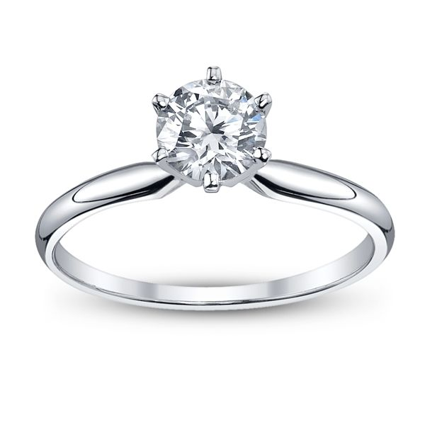 14k White Gold Round 1 ct. tw. Solitaire Engagement Ring