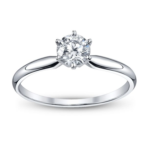 14k White Gold Round 5/8 ct. tw. Solitaire Engagement Ring