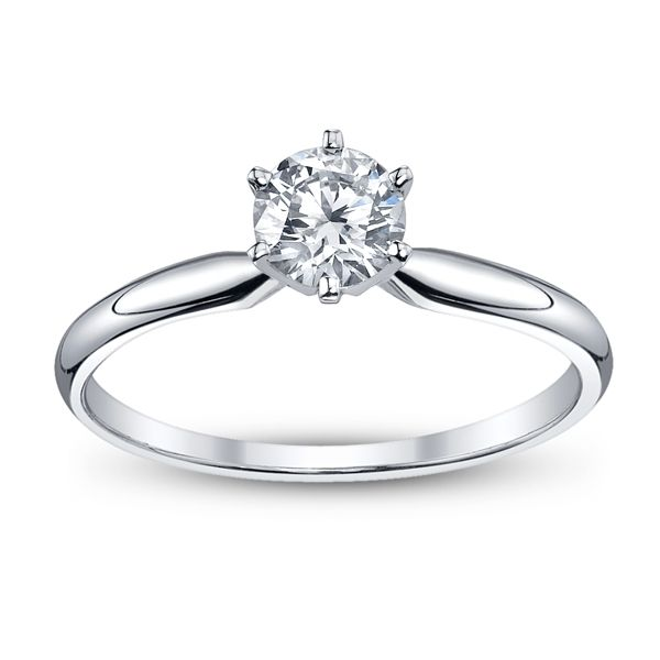 14k White Gold Round 3/4 ct. tw. Solitaire Engagement Ring