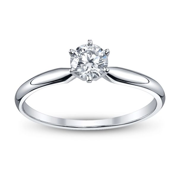 14k White Gold Round 1/2 ct. tw. Solitaire Engagement Ring