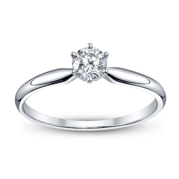 14k White Gold Round 1/3 ct. tw. Solitaire Engagement Ring