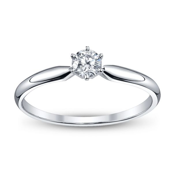 14k White Gold Round 1/5 ct. tw. Solitaire Engagement Ring