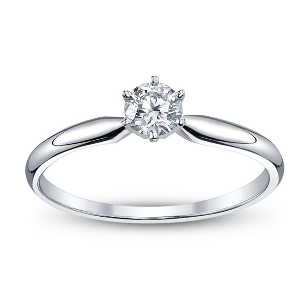 14k White Gold Round 1/4 ct. tw. Solitaire Engagement Ring