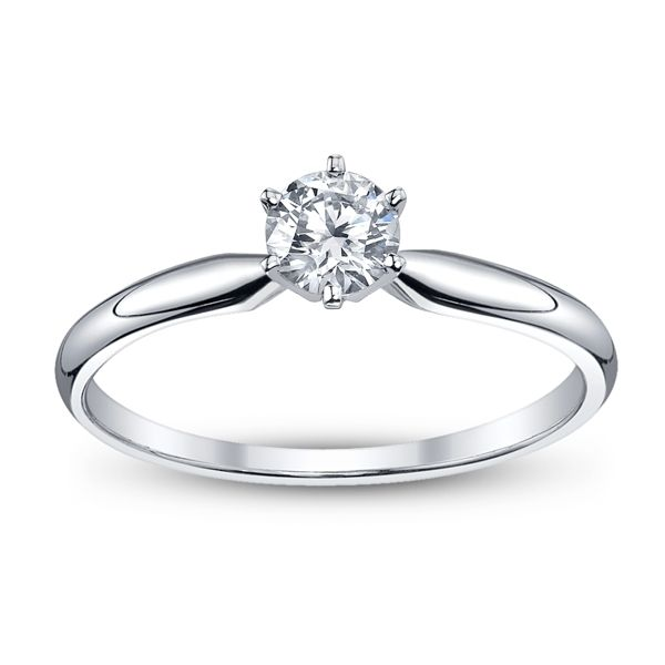 14k White Gold Round 3/8 ct. tw. Solitaire Engagement Ring