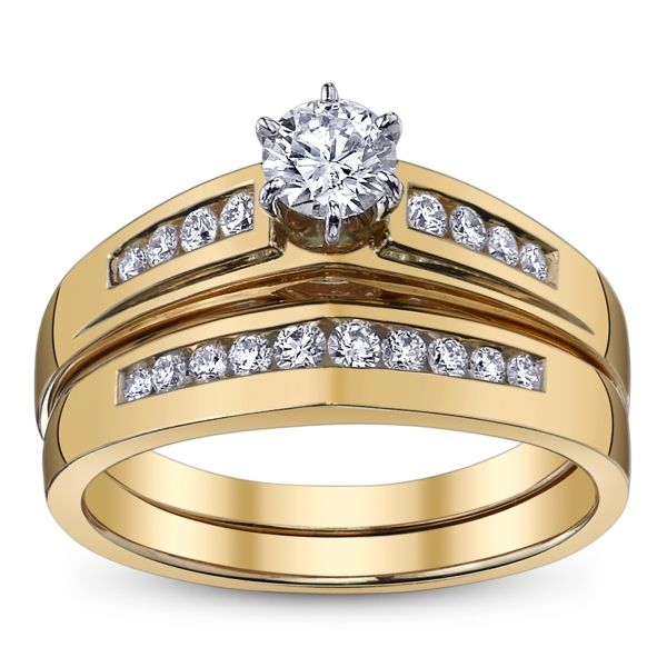 U Two 14k Yellow Gold Diamond Wedding Set 5/8 ct. tw.