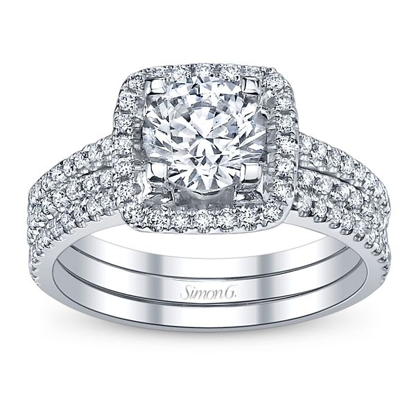 Simon G. Ladies 18k White Gold Diamond Wedding Set