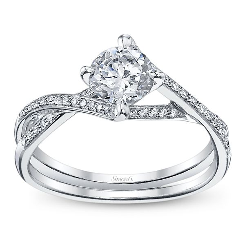 Simon G. 18k White Gold Diamond Engagement Ring Setting 1/6 ct. tw.