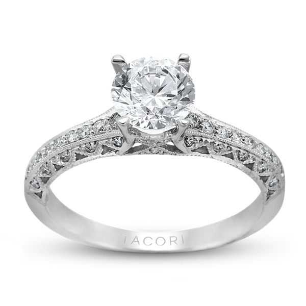 Tacori 18k White Gold Ladies Engagement Ring With Round Diamonds