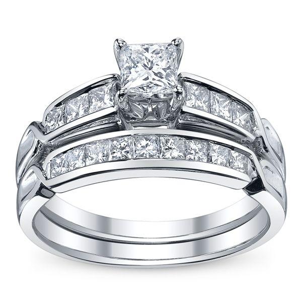 U Two 14k White Gold Diamond Wedding Set 1 ct. tw.