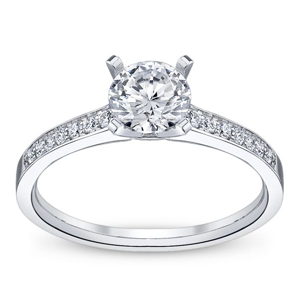 RB Signature 14k White Gold Diamond Engagement Ring Setting 1/10 ct. tw. .