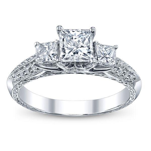 Utwo Three Stone 14k White Gold Diamond Engagement Ring 1 1/2 ct. tw.