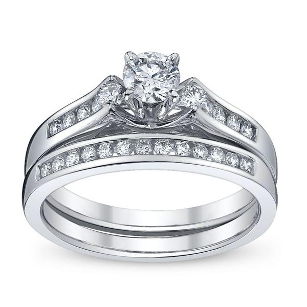 U Two 14k White Gold Diamond Wedding Set 5/8 ct. tw.