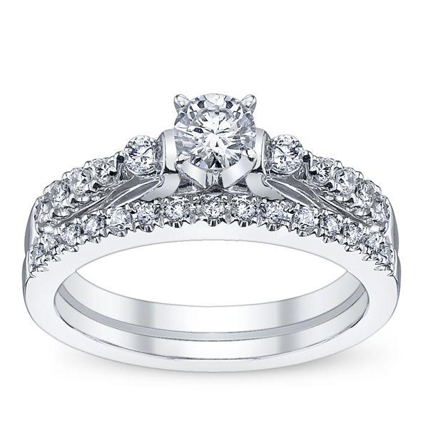 U Two 14k White Gold Diamond Wedding Set 1/2 ct. tw.