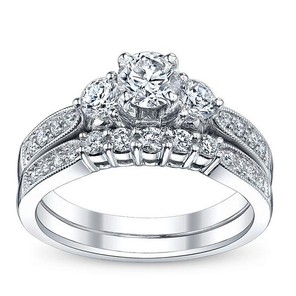 Utwo Three Stone 14k White Gold Diamond Wedding Set 1 ct. tw.