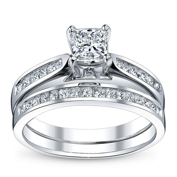 U Two 14k White Gold Diamond Wedding Set 1 1/3 ct. tw.