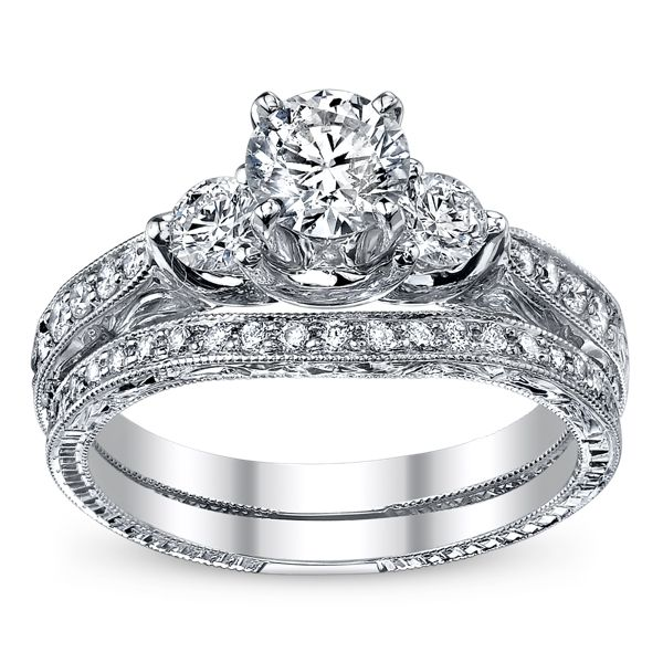 Utwo Three Stone 14k White Gold Diamond Wedding Set 1 1/4 ct. tw.