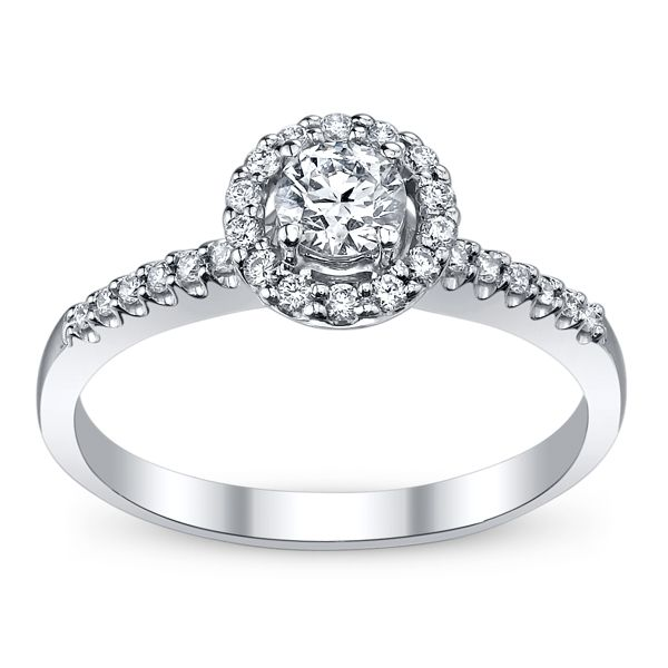 14k White Gold Diamond Engagement Ring 1/2 ct. tw.