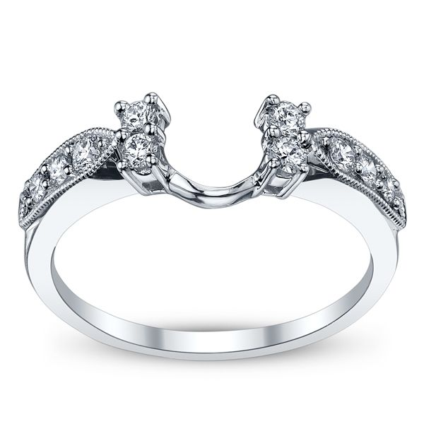 14k White Gold Diamond Engagement Ring Wrap 1/3 ct. tw.