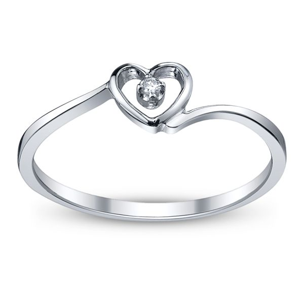 Cherish 10k White Gold Promise Ring .01 ct. tw.