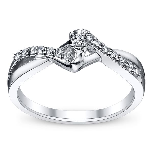 Cherish 10k White Gold Diamond Promise Ring 1/6 ct. tw.