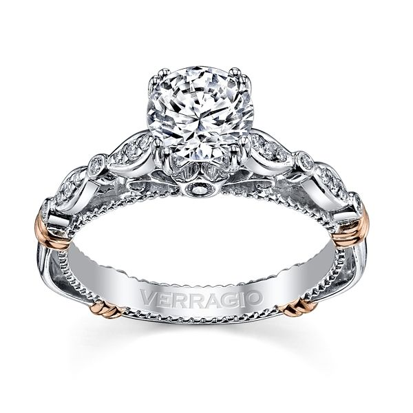 Verragio 14k White and Rose Gold Diamond Engagement Ring Setting