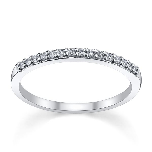 14k White Gold Diamond Wedding Band 1/6 ct. tw.