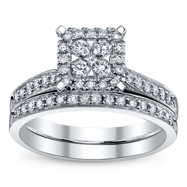 Cherish 14k White Gold Diamond Wedding Set 1/2 ct. tw.