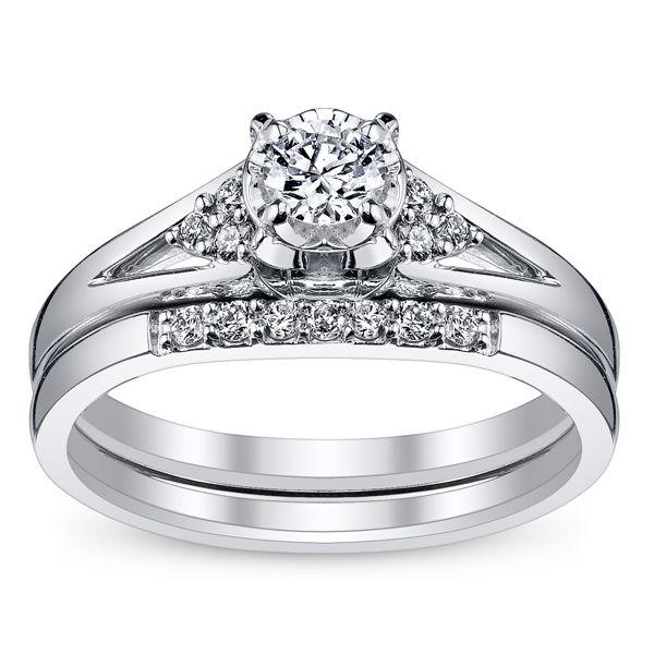 Cherish 10k White Gold Diamond Wedding Set 1/4 ct. tw.