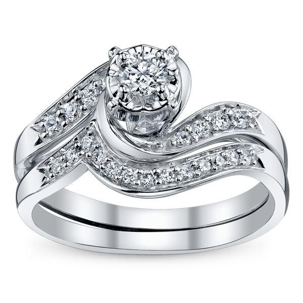 Cherish 10k White Gold Diamond Wedding Set 1/3 ct. tw.