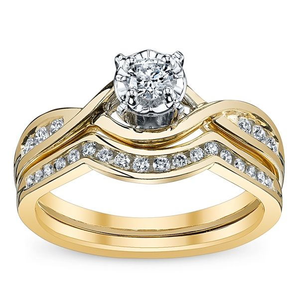 Cherish 10k Yellow Gold Diamond Wedding Set 1/3 ct. tw.