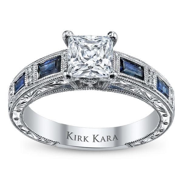 Kirk Kara 18k White Gold Blue Sapphire Diamond Engagement Ring Setting .08 ct. tw.