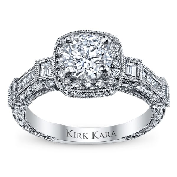 Kirk Kara 18k White Gold Diamond Engagement Ring Setting 5/8 ct. tw.