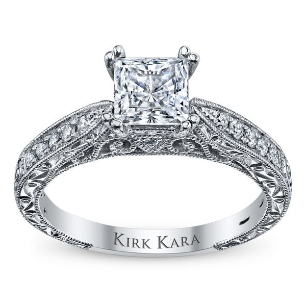 Kirk Kara 18k White Gold Diamond Engagement Ring Setting 1/5 ct. tw.