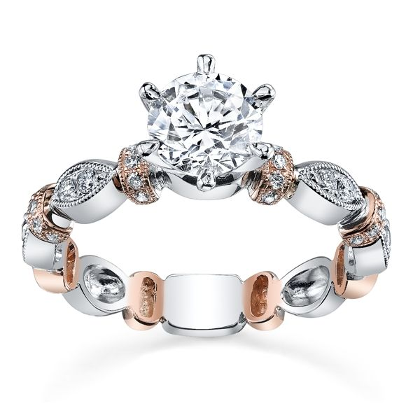 Kirk Kara 18k White Gold and 18k Rose Gold Diamond Engagement Ring Setting 1/5 ct. tw.