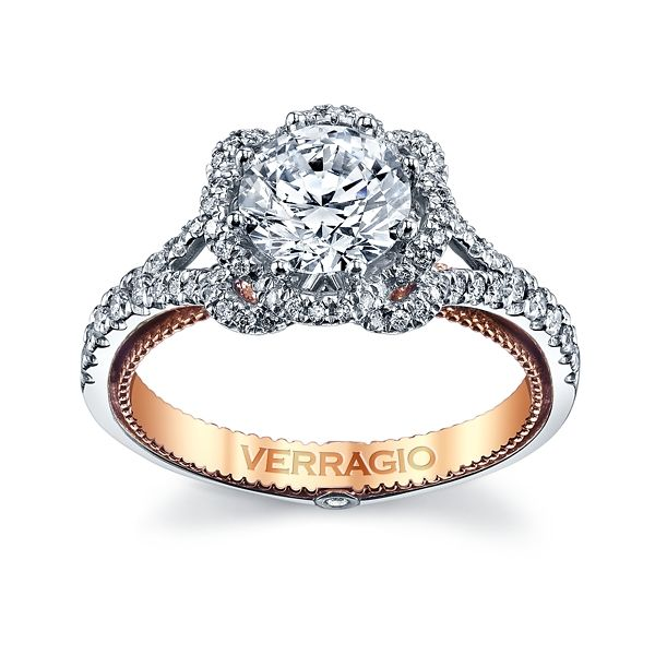 Verragio 18k White Gold and 18k Rose Gold Diamond Engagement Ring Setting 3/8 ct. tw.