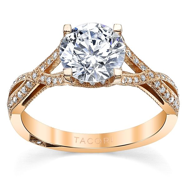 Tacori 18k Rose Gold Diamond Engagement Ring Setting 1/5 ct. tw.