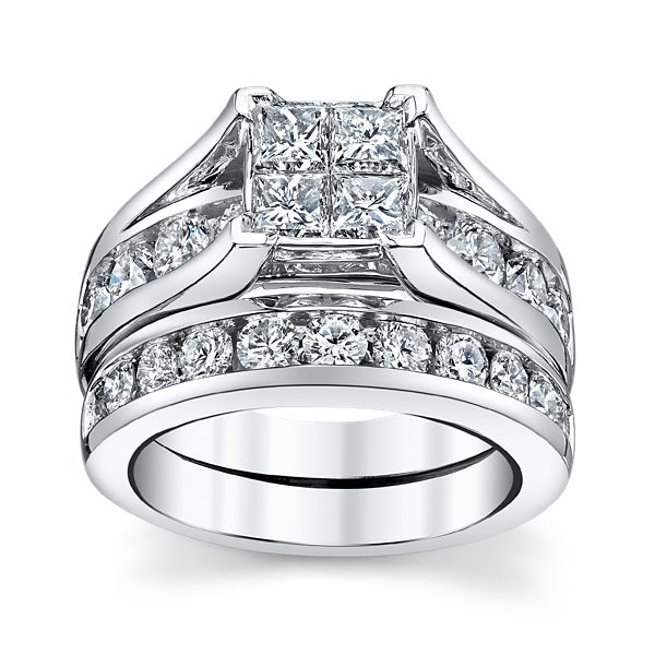Mosaic Collection 14k White Gold Diamond Wedding Set 3 ct. tw.