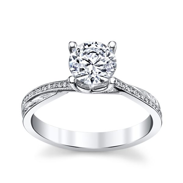 Michael M. 18k White Gold Diamond Engagement Ring Setting .07 ct. tw.