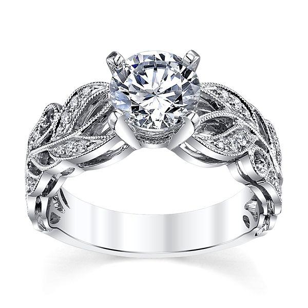 Divine 14k White Gold Diamond Engagement Ring Setting 1/10 ct. tw.