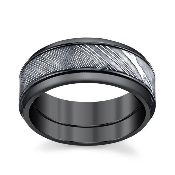 Lashbrook Zirconium and Damascus Steel 9 mm Wedding Band