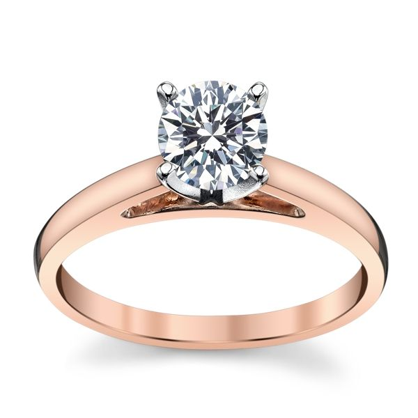 14k Rose Gold and 14k White Gold Engagement Ring Setting
