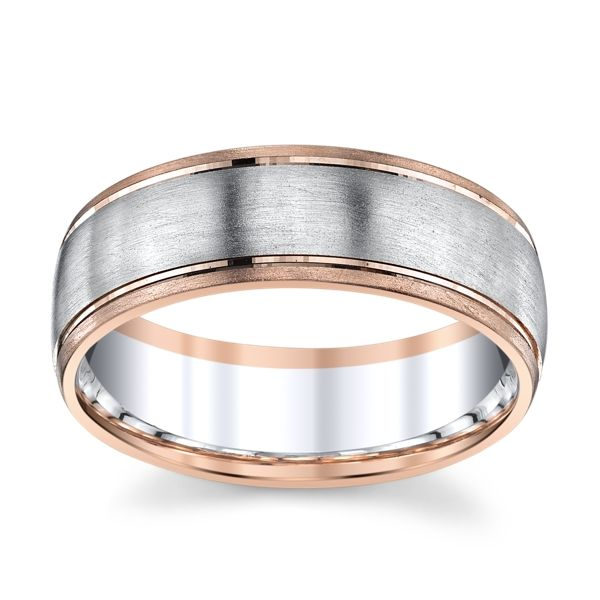 14k White Gold and 14k Rose Gold 7 mm Wedding Band