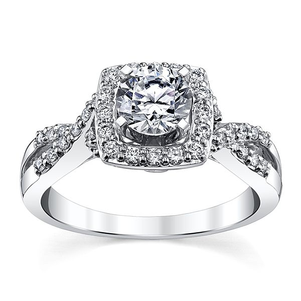 Gem Quest Bridal 14k White Gold Diamond Engagement Ring Setting 1/4 ct. tw.