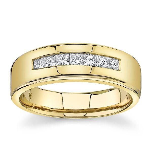 14k Yellow Gold 7 mm Diamond Wedding Band 1/2 ct. tw.