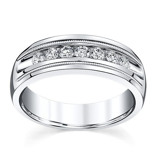 14k White Gold 7.1 mm Men's Diamond Wedding Band 1/2 ct. tw.