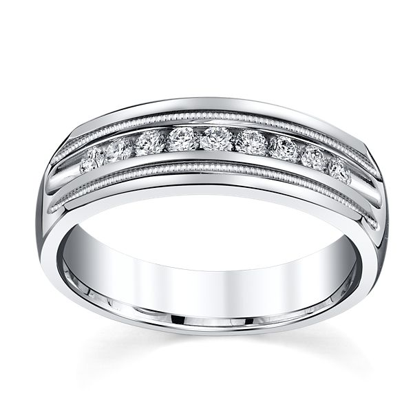 14k White Gold 6.6 mm Men's Diamond Wedding Band 1/3 ct. tw.
