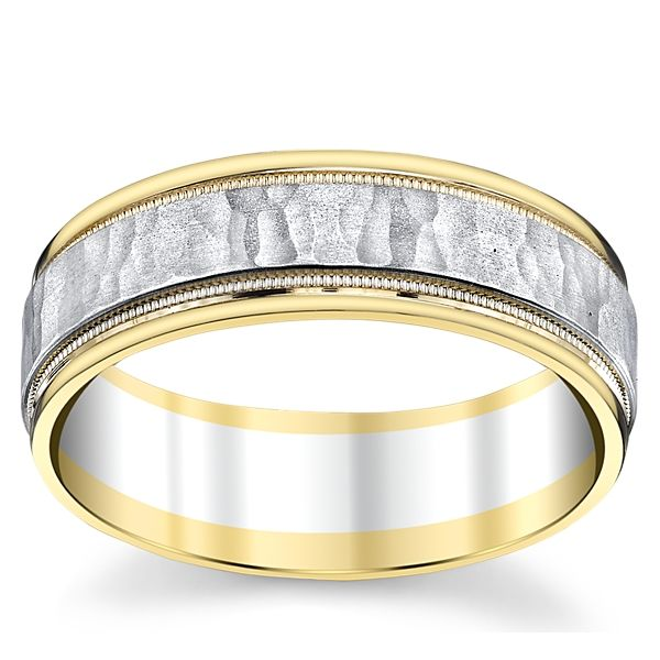 14k White Gold and 14k Yellow Gold 7 mm Wedding Band