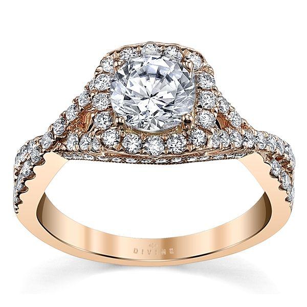 Divine 14k Rose Gold Diamond Engagement Ring Setting 1/2 ct. tw.