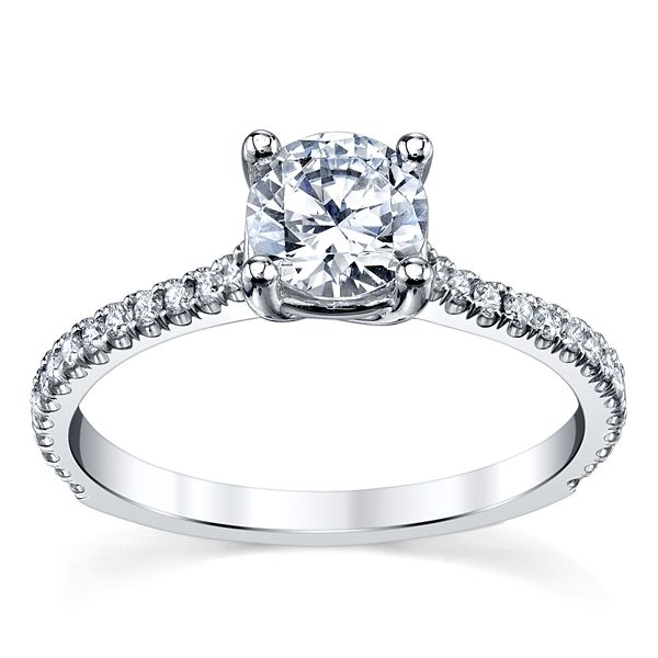 Suns and Roses 14k White Gold Diamond Engagement Ring Setting 1/5 ct. tw.