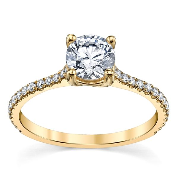 Suns and Roses 14k Yellow Gold Diamond Engagement Ring Setting 1/5 ct. tw.